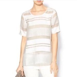 JOA Textured Stripe Sheer Panel Blouse Top White M